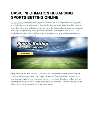 BASIC INFORMATION REGARDING SPORTS BETTING ONLINE
