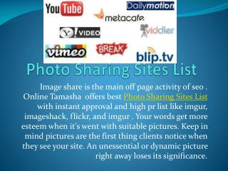 Choose Photo Sharing Sites List