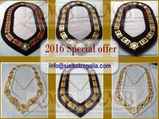 Masonic regalia past master chain collar gold plated