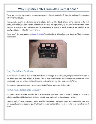 Why Buy Milk Crates From Alex Baird & Sons?