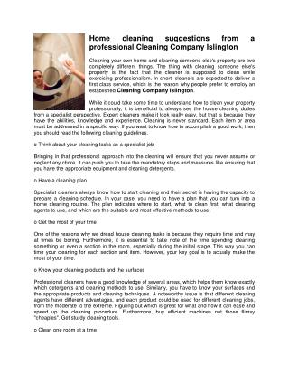 Home cleaning suggestions from a professional Cleaning Company Islington