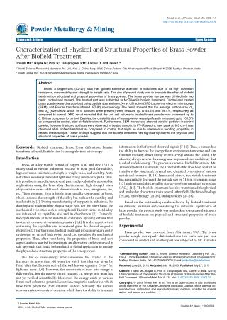 Study of Physical and Structural Properties of Brass Powder