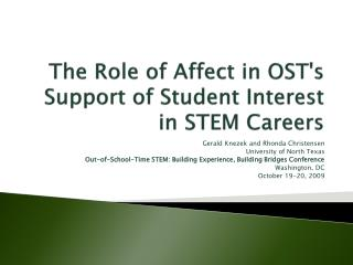 The Role of Affect in OSTs Support of Student Interest in STEM Careers
