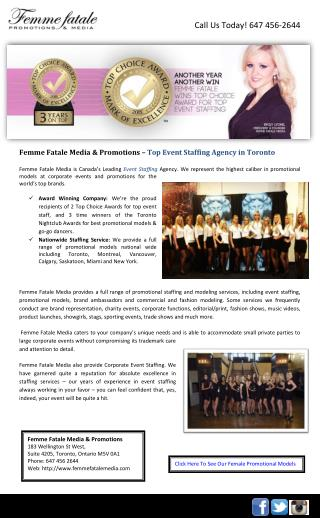 Femme Fatale Media & Promotions – Top Event Staffing Agency in Toronto