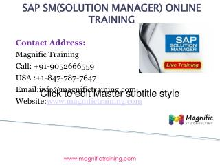 SAP SM(SOLUTION MANAGER) ONLINE TRAINING IN INDIA|USA|UK