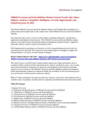 Oilfield Corrosion and Scale Inhibitor Market Strategies And Forecast 2015