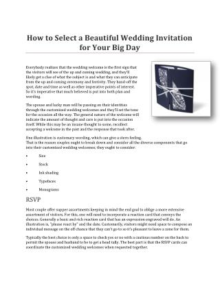 How to Select a Beautiful Wedding Invitation for Your Big Day