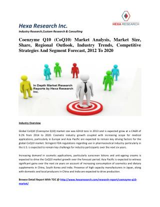 Coenzyme Q10 (CoQ10) Market Analysis, Market Size, Share, Regional Outlook, Industry Trends, Competitive Strategies And
