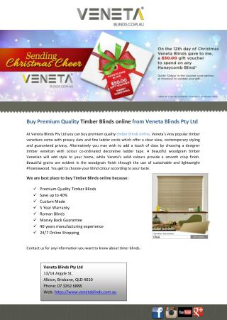 Buy Premium Quality Timber Blinds online from Veneta Blinds Pty Ltd
