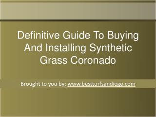 Definitive Guide To Buying And Installing Synthetic Grass Coronado