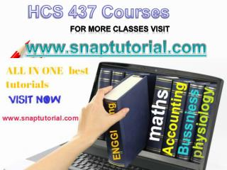 HCS 437 Academic Success /snaptutorial