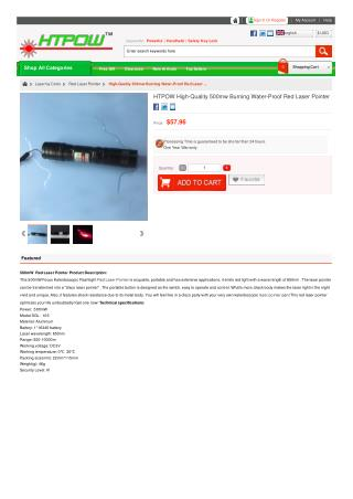 HTPOW High-Quality 500mw Burning Water-Proof Red Laser Pointer