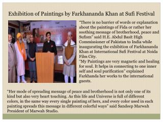 Exhibition of Paintings by Farkhananda Khan at Sufi Festival