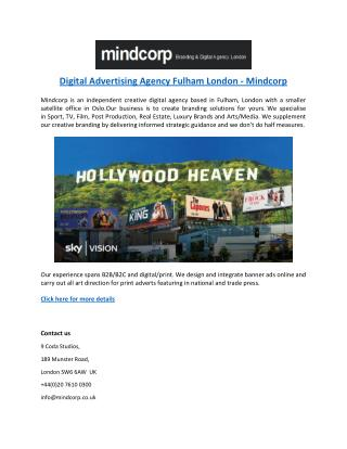 Digital Advertising Agency Fulham London - Mindcorp