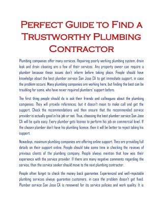 plumbing companies san jose