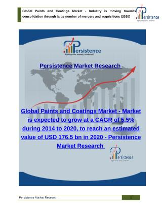 Paints and Coatings Market - Share, Size, Analysis and Trend to 2020