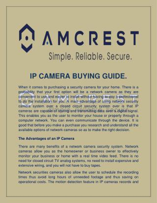 IP CAMERA BUYING GUIDE
