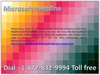 Microsoft Helpline ~##~ 1-877-632-9994 Toll Free Number