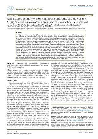 Antimicrobial Sensitivity, Biochemical Characteristics and Biotyping of Staphylococcus saprophyticus: An Impact of Biofi