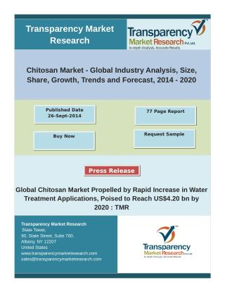 Global Chitosan Market Propelled by Rapid Increase in Water Treatment Applications, Poised to Reach US$4.20 bn by 2020.p