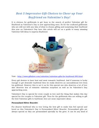 Impressive Gift Choices to Cheer up Your Boyfriend on Valentines Day!