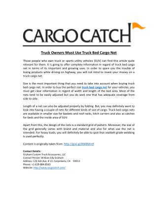 Truck Owners Must Use Truck Bed Cargo Net
