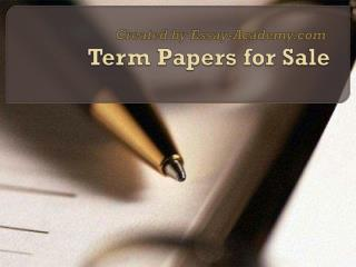 Term Paper for Sale