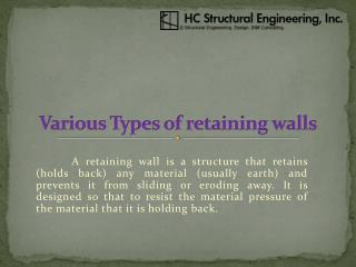 Various Types of retaining walls