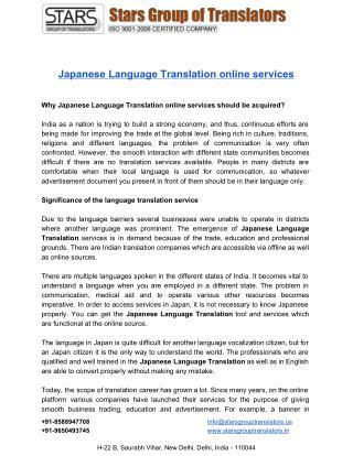 Get assisance for Japanese Language Translation Online Services..