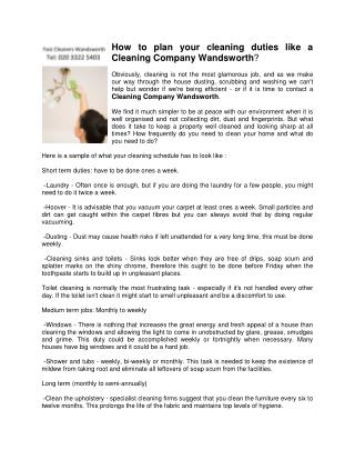 How to plan your cleaning duties like a Cleaning Company Wandsworth?