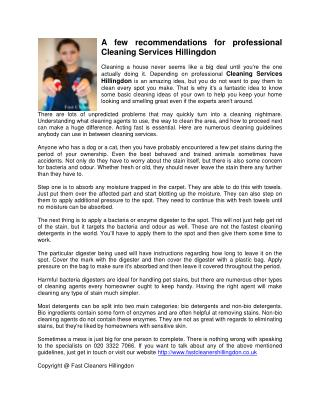 A few recommendations for professional Cleaning Services Hillingdon