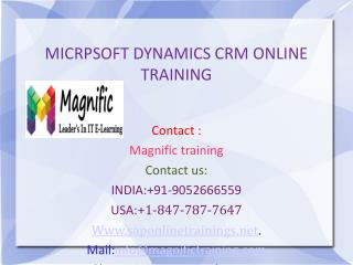 Microsoft Dynamics CRM Online Training in USA