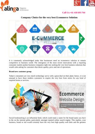 Company Choice for the very best Ecommerce Solution