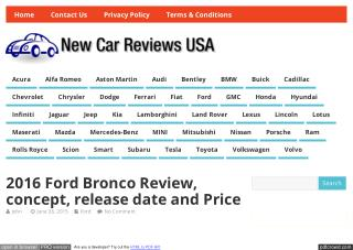 Reviews of Ford Bronco 2016