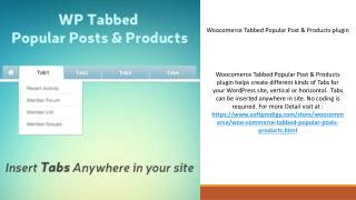 Woocomerce Tabbed Popular Post & Products plugin