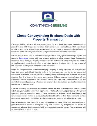 Cheap Conveyancing Brisbane Deals with Property Transaction