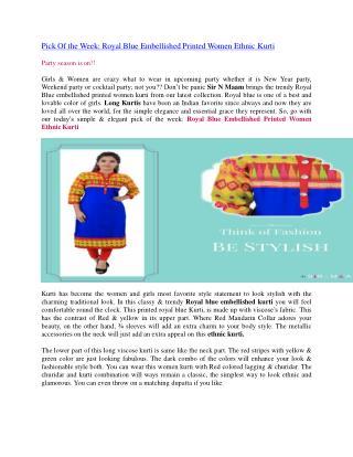 Pick Of the Week: Royal Blue Embellished Printed Women Ethnic Kurti