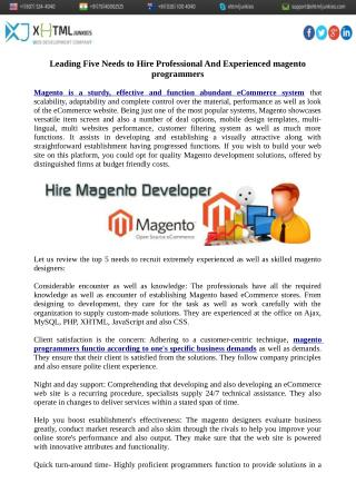 Leading Five Needs to Hire Professional And Experienced magento programmers
