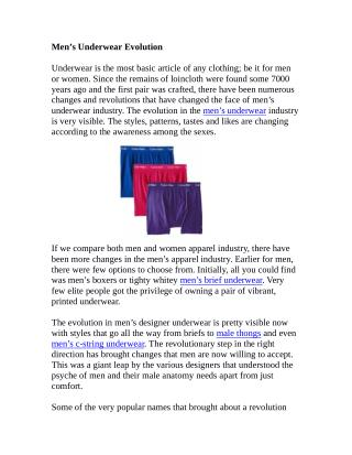 Men's Underwear Evolution