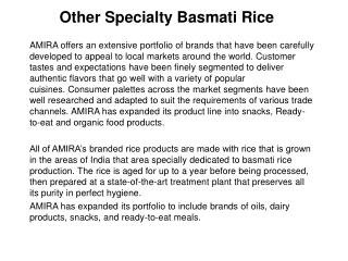 Other Speciality Basmati Rice - Top Basmati Rice Companies