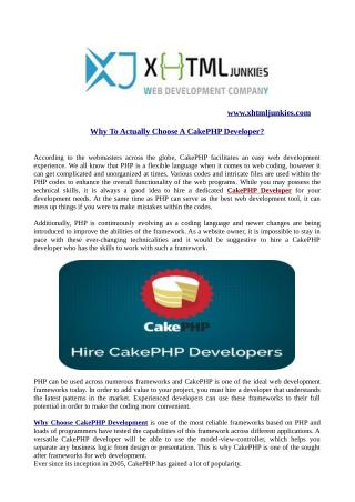 Why to actually choose a cakephp developer?