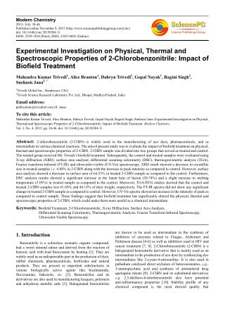 Biofield Treatment and Its Effect on 2-Chlorobenzonitrile