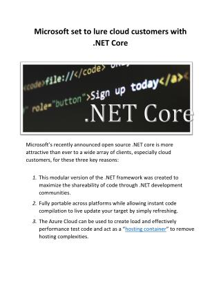 Microsoft set to lure cloud customers with .NET Core