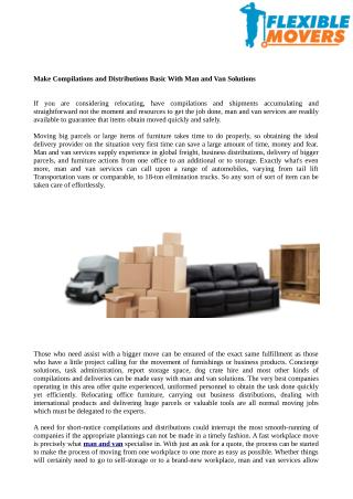 Make Compilations and Distributions Basic With Man and Van Solutions