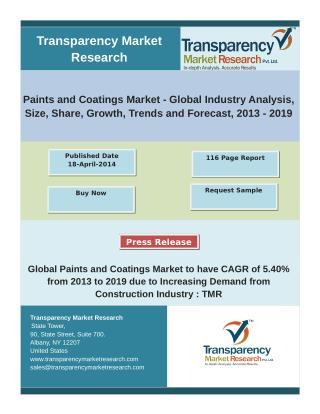 Global Paints and Coatings Market to have CAGR of 5.40% from 2013 to 2019