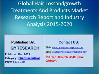 Global Hair Lossandgrowth Treatments And Products Market 2015 Industry Trends, Analysis, Outlook, Development, Shares, F