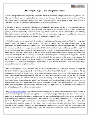 Choosing the Right U Visa Immigration Lawyer