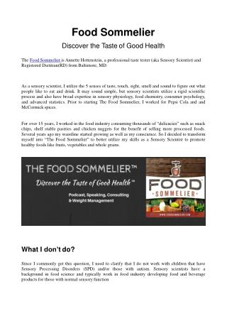 Food Sommelier - Discover the Taste of Good Health