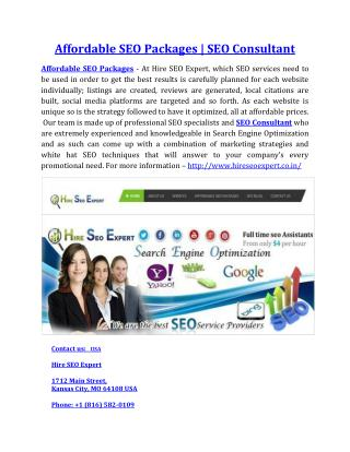 Affordable SEO Packages | SEO Consultant