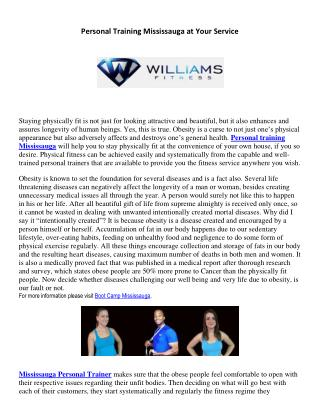 Personal Training Mississauga at Your Service